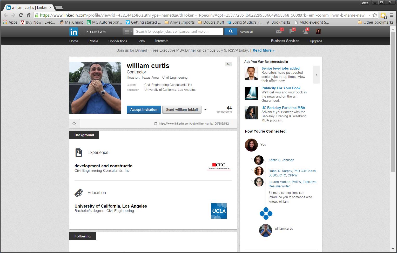 Example of a Fake LinkedIn Profile.