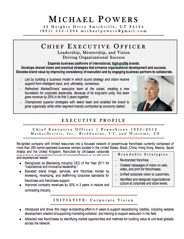 ceo executive resume