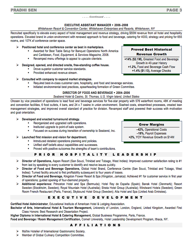 General Manager Executive Resume