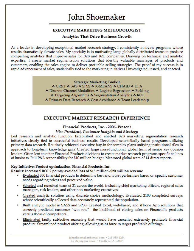 Professional Executive Resume Services