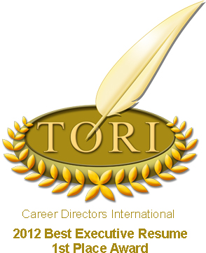 TORI Award #1 Best Executive Resume, Salt Lake City Resume Writing Service