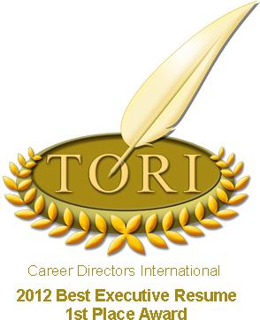 TORI Award #1 Best Executive Resume, Salt Lake City Resume Writing Service